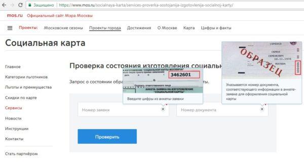 Данные для проверки готовности соцкарты москвича