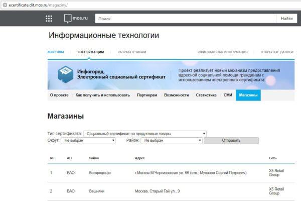 Список магазинов Москвы, принимающих социальные сертификаты